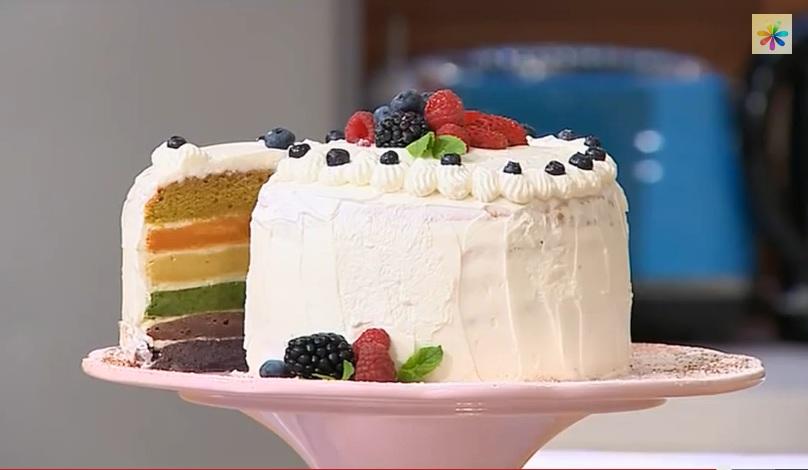 Татьяна Литвинова рецепты, радужный торт рецепт, торт с разноцветными коржами, радужный торт от литвиновой