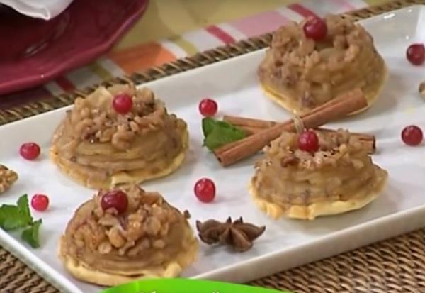 мини-татен из яблок рецепт, яблочный мини-татен рецепт, Лиза Глинская рецепты,